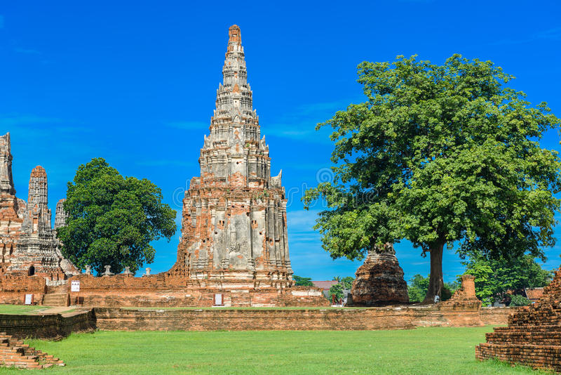 Majestic ruins of 1629 Wat Chai Watthanaram built by King Prasat Tong with its principal Prang (center) representing Mount. Majestic ruins of 1629 Wat Chai royalty free stock images