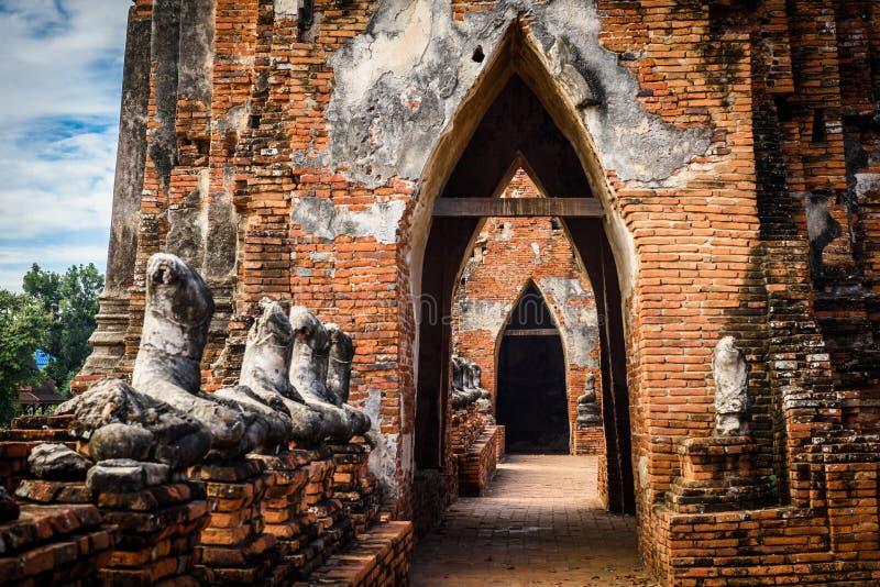 Majestic ruins of 1629 Wat Chai Watthanaram built by King Prasat Tong with its principal Prang (center) representing Mount. Majestic ruins of 1629 Wat Chai royalty free stock photo
