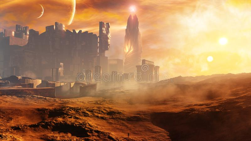 Majestic Concept Golden Desert City With Tower. A majestic science fiction type of concept city skyline with a glorious magical tower in a high desert stock illustration