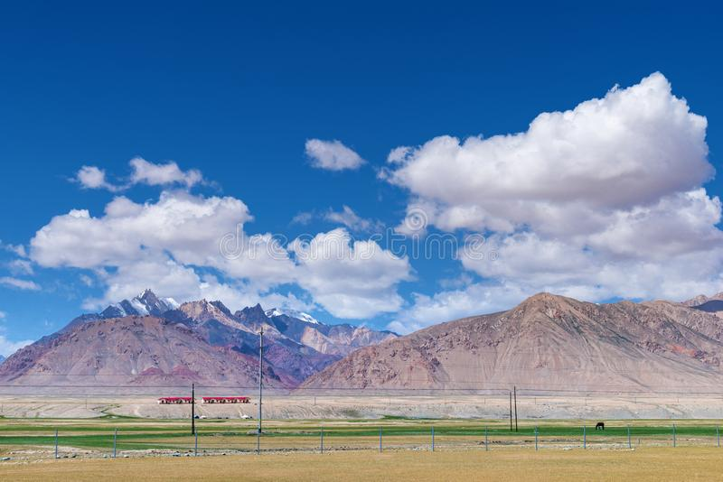 Majestic mountains and horse on meadows in Pamirs plateau. Majestic snow-capped mountains peak with cloudy blue sky in Pamirs plateau,alone black horse grazing royalty free stock images