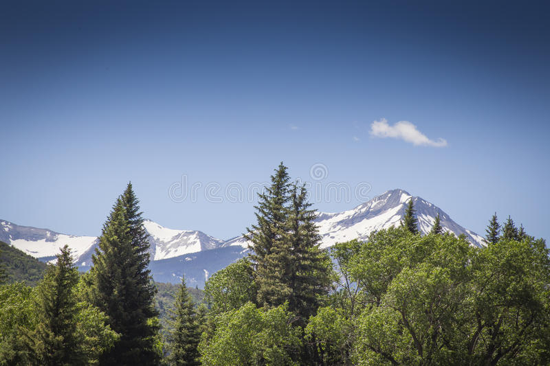 Majestic snow peaks at Paonia State park, Colorado. United States of America royalty free stock photography