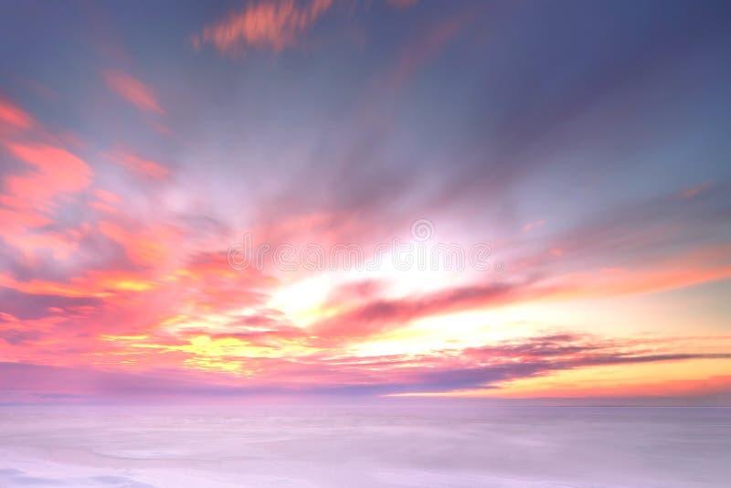 Majestic winter sunset over the Chudskoy lake. Estonia stock photo