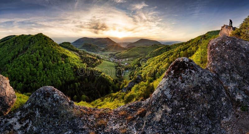 Majestic sunset in the mountains landscape. Dramatic sky. Carpathian, Slovakia, Europe. Beauty world royalty free stock images