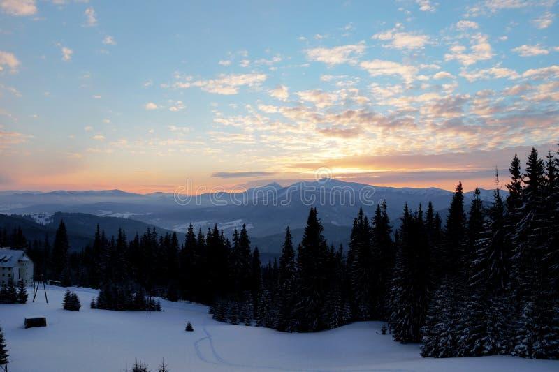 Majestic sunset in the mountains landscape. Dramatic sky. Carpathian, Ukraine, Europe. stock images
