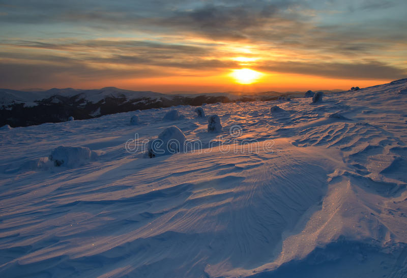 Download Majestic Sunset In The Winter Mountains Landscape Stock Image - Image: 23464995
