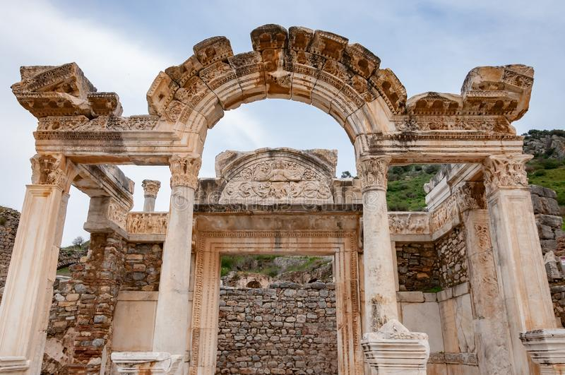 Majestic Temple of Hadrian in Ephesus Ancient City in Izmir, Turkey royalty free stock images
