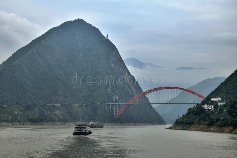 The Wushan Yangtze River Bridge in the Three Gorges of Chongqing in China. royalty free stock image