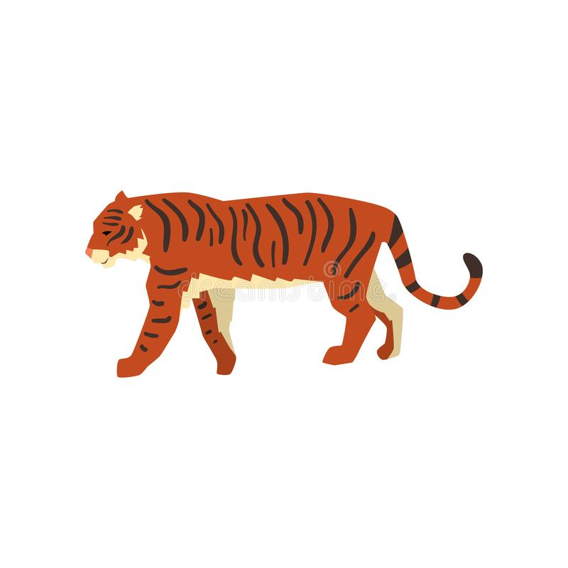 Free Majestic Tiger, Side View, Wild Cat, Predator Cartoon Vector Illustration On A White Background Stock Photography - 121042152