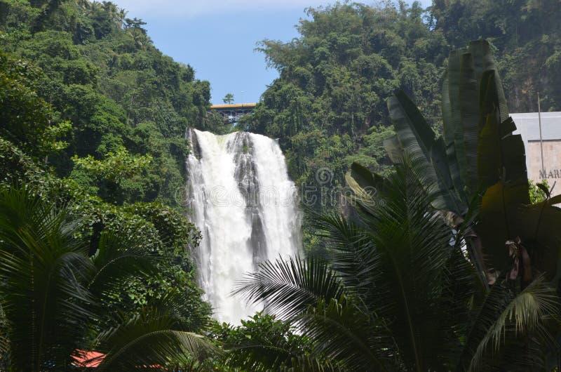 Maria Christina Falls in Iligan City. Majestic Twin Falls, hydro electric plant Agus River, Iligan City, Philippines. 321 feet drop stock photos