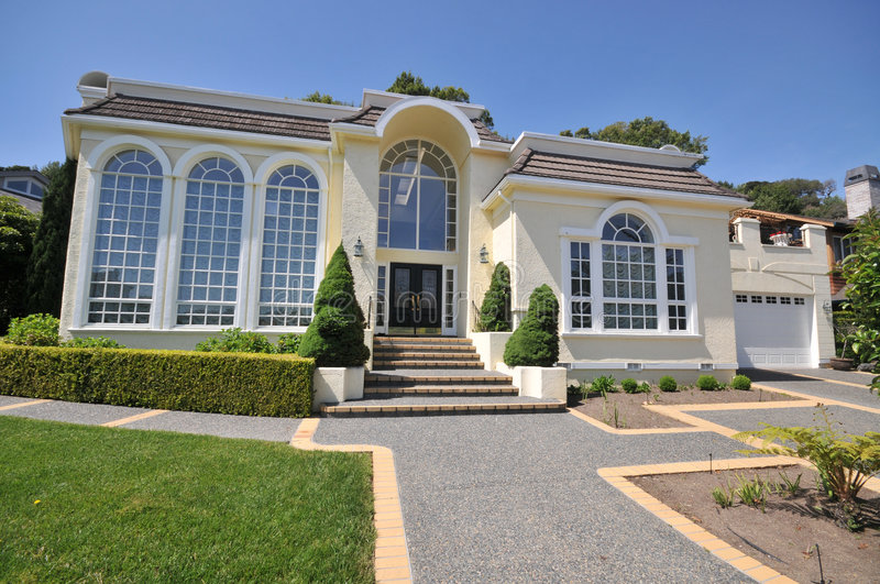 Download Majestic Two Story Mansion With Huge Windows Stock Photo - Image: 9338684