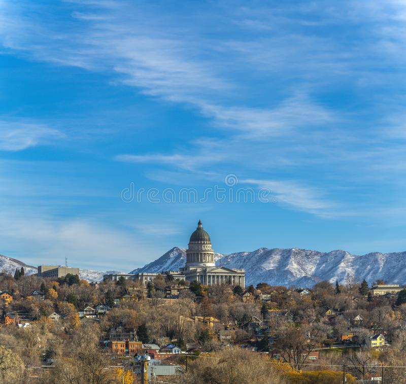 Salt Lake City Utah Houses: Clouds Over The Capital In Salt Lake City Utah Stock Image