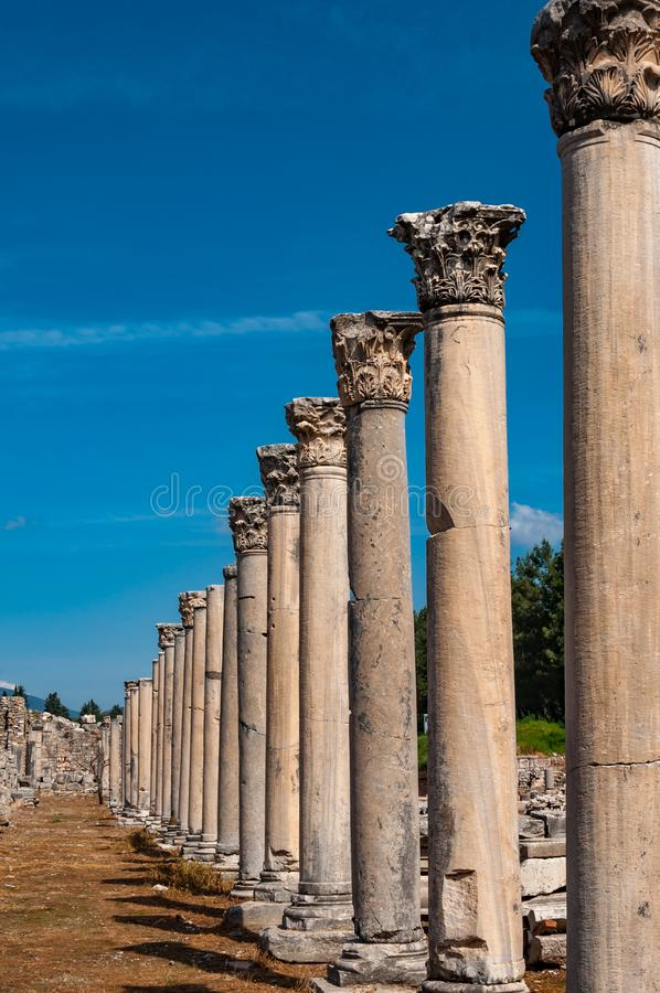 Majestic view of Agora of Ephesus from columnar road and columns, Izmir, Turkey stock image