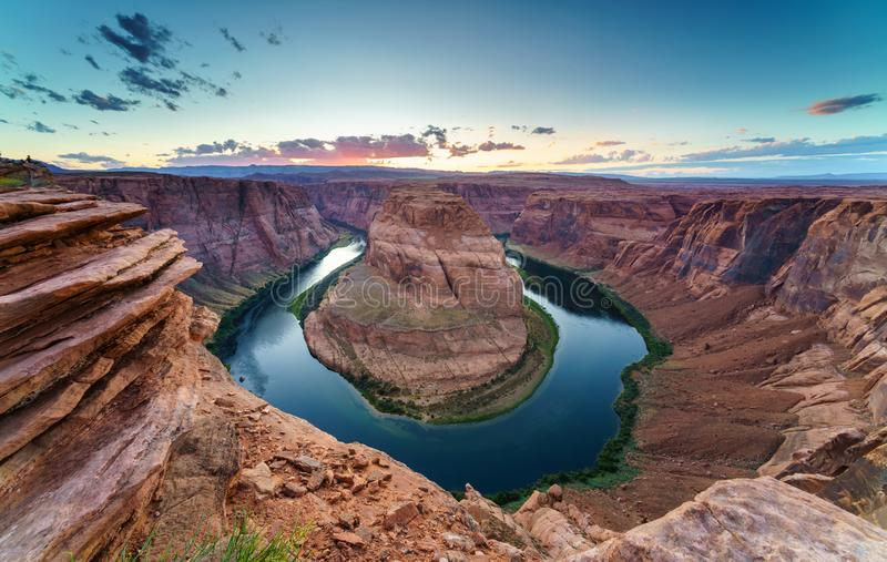 Horse Shoe Bend, Colorado River in Page, Arizona USA. Majestic view of Horse Shoe Bend, Colorado River in Page, Arizona USA. nnPhoto Taken On: Septembre 16th royalty free stock photos