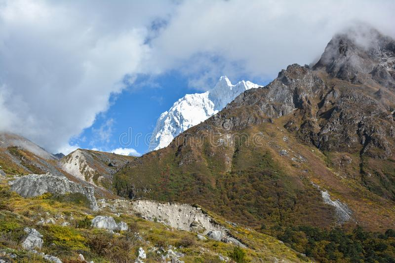 Majestic view of Jannu Peak on the way to Kangchenjunga, Nepal stock images