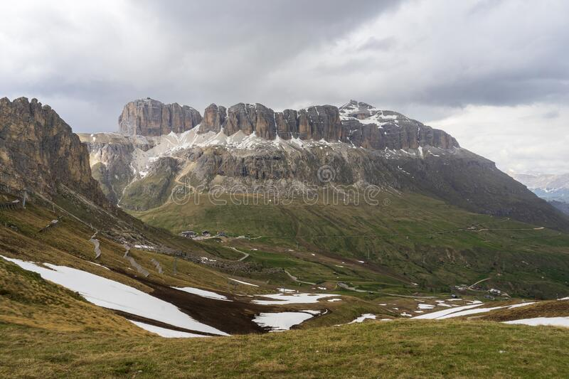 Majestic view of Sella group in the Dolomites. Italy.  stock photos