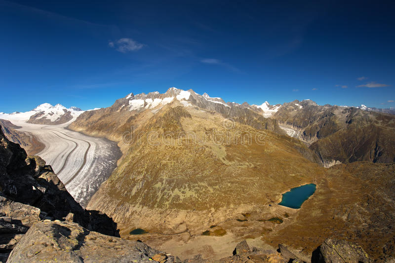 Majestic view to Aletsch glacier, the largest gracier in Alps an royalty free stock photography