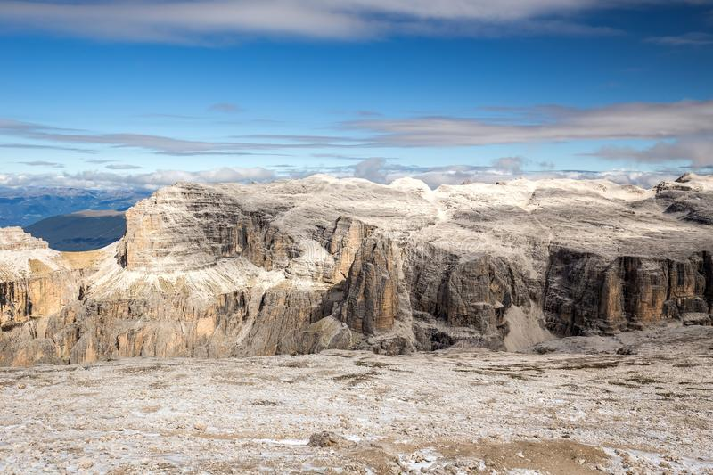 Majestic view from the top of Sass Pordoi, Dolomites, Italy stock image