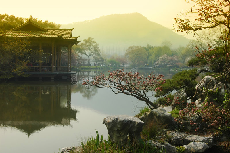 Majestic view of West Lake China stock images