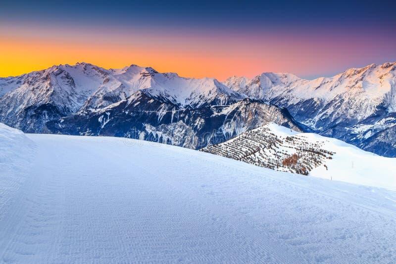 Majestic winter landscape and fantastic sunset,Alpe d Huez,France,Europe stock photo