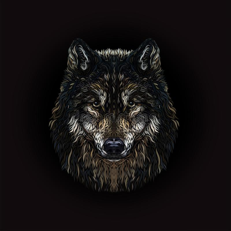 The majestic wolf, painted smooth lines, on a black background.  stock illustration