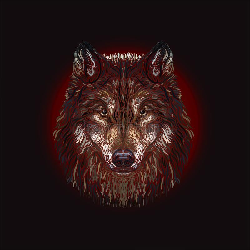 The majestic wolf. Painted smooth lines, on a dark background stock illustration