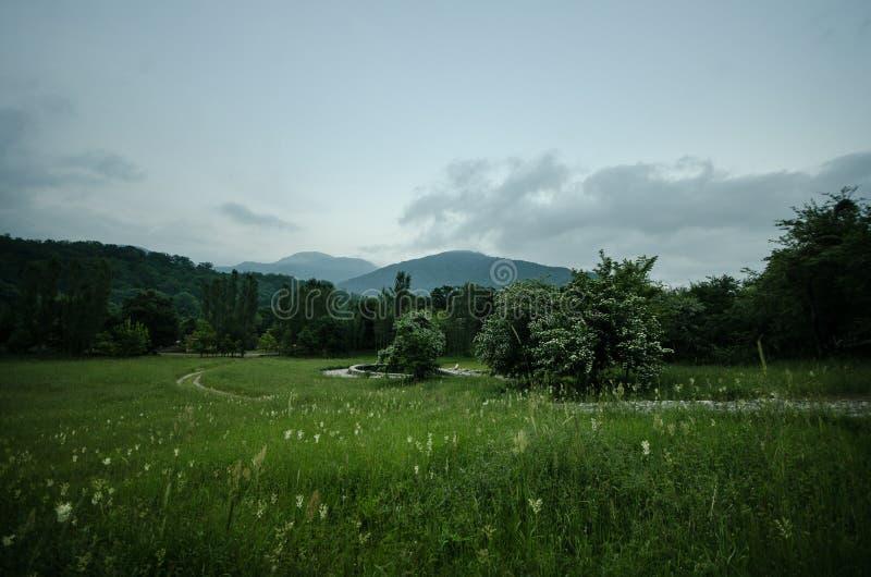 Majestueus landschap van bergen en Weide Cirkelende bergweg Nevelige bergweg in hooggebergte Bewolkte hemel met mountai stock afbeelding