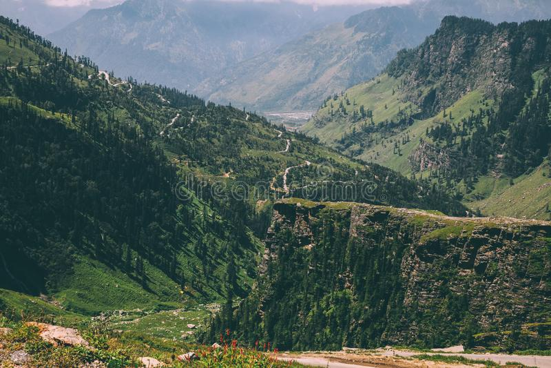 majestueuze die bergen met groene bomen in Indisch Himalayagebergte worden behandeld, royalty-vrije stock afbeelding