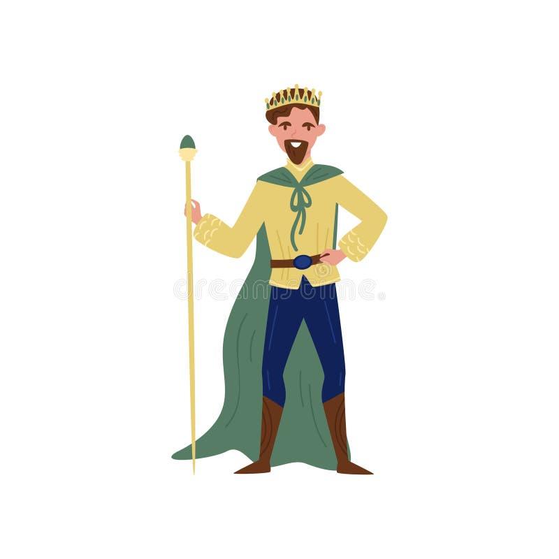 Majestueuze koning in groene kaap die zich met personeel bevinden, fairytale karakter vectorillustratie op een witte achtergrond stock illustratie