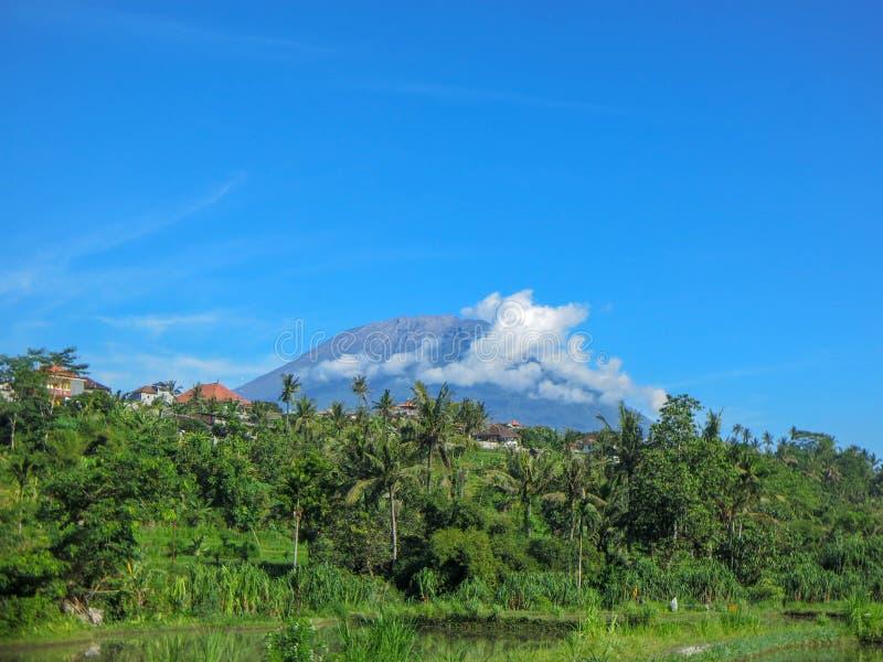 Majestueuze vulkaan Gunung Agung in de torenhoge hoogte van Bali boven de omgeving Padievelden met water worden overstroomd dat stock afbeelding