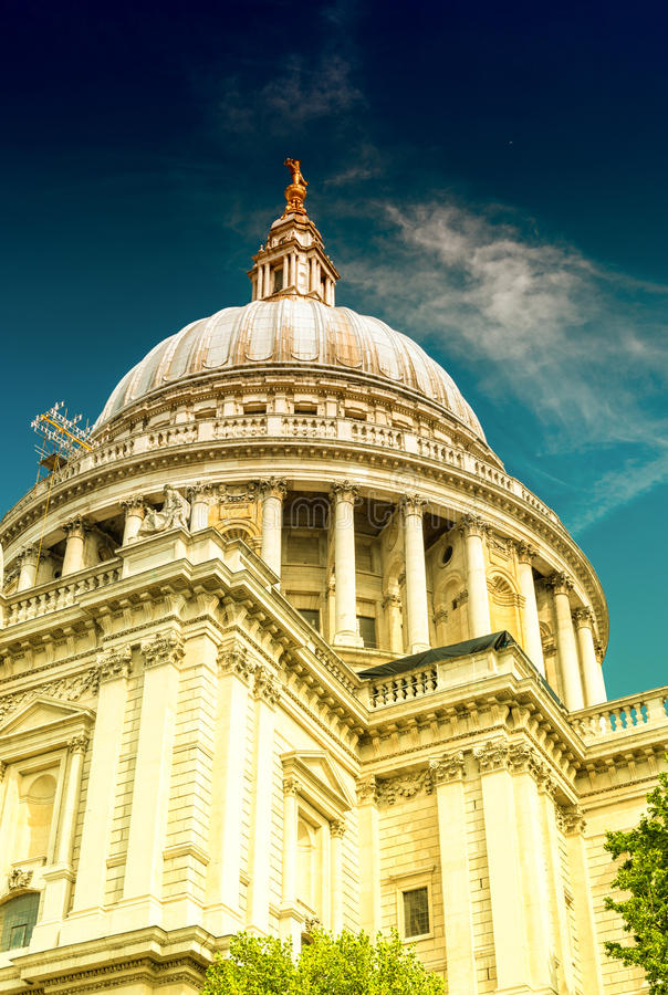 Majesty of St Paul Cathedral on a sunny day, London.  stock photos