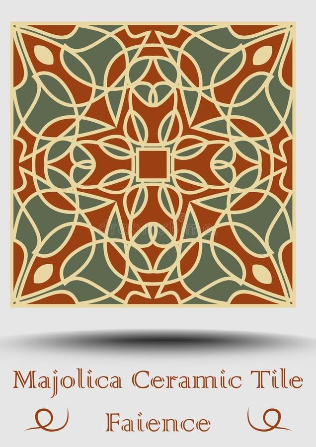 Majolicakeramische tegel in beige, olijf groen en rood terracotta Uitstekende pottteryfaïence Traditioneel aardewerkproduct Spaan vector illustratie