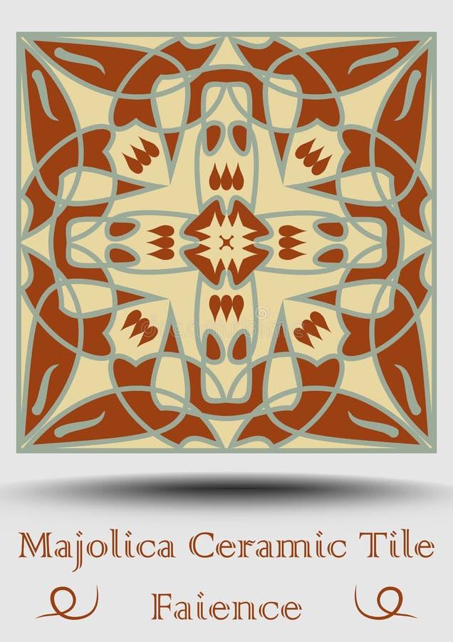 Majolicakeramische tegel Uitstekende ceramische majolica Het traditionele product van het glansaardewerk met multicolored symmetr royalty-vrije illustratie