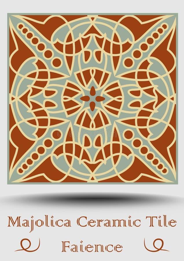 Majolicategelplatta i beiga, olivgrön gräsplan och röd terrakotta Keramisk tegelplatta för tappning Traditionell krukmakeriproduk royaltyfri illustrationer