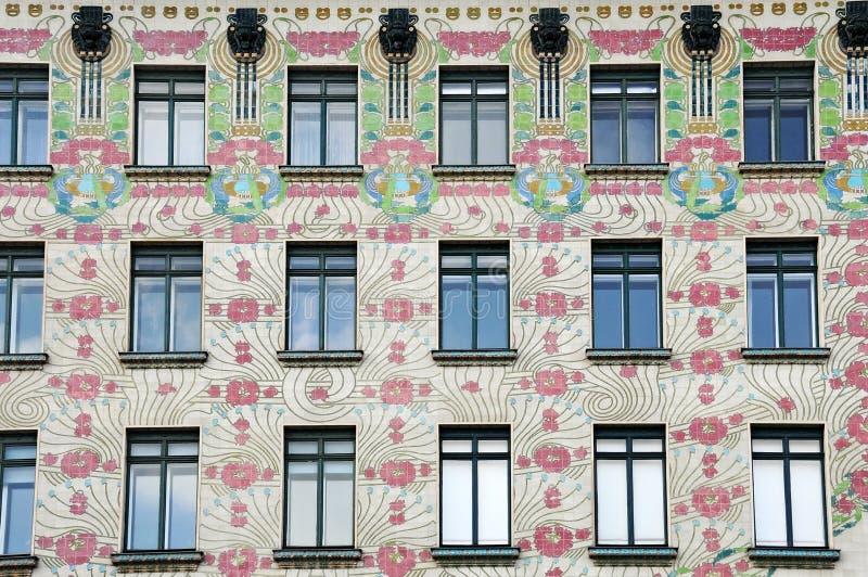 Majolikahaus, arquitetura do nouveau da arte fotografia de stock royalty free