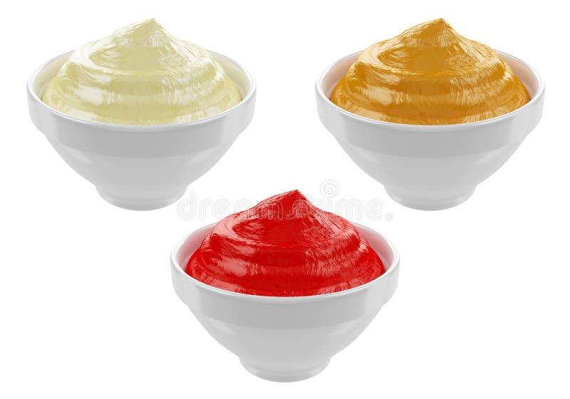 Majonnäs senap, ketchup inom keramiska krus som isoleras på vit bakgrund, tolkning 3D stock illustrationer