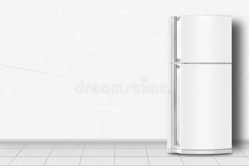 Home appliance - Refrigerator in front of white wall royalty free stock image