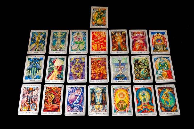 Crowley/Harris Thoth Tarot Deck. The Major Arcana of the Crowley/Harris Thoth Tarot Deck isolated on a black background royalty free stock image