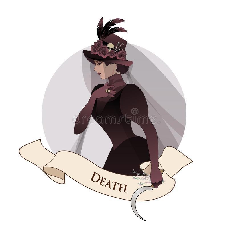 Major Arcana Emblem Tarot Card. Death. Woman dressed in veils and ancient widow clothes carrying a sickle and a sprig of flowers i. N one hand. Hat decorated royalty free illustration