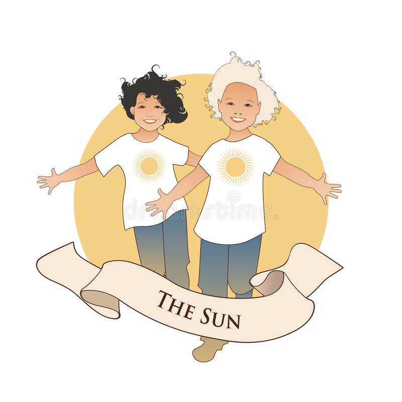 Major Arcana Emblem Tarot Card Die Sonne Zwei glückliche Doppeljungen, die mit den offenen Armen vor der Sonne, lokalisiert auf w lizenzfreie abbildung