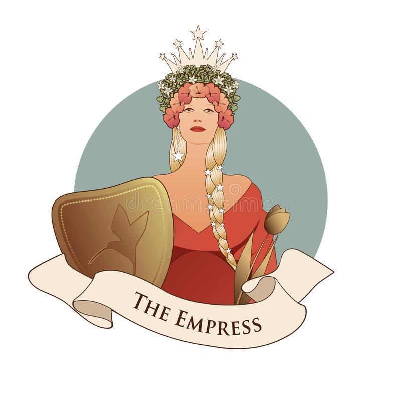 Major Arcana Emblem Tarot Card. The Empress. Beautiful woman with long braids, crown of flowers and stars, holding a shield with a royalty free illustration