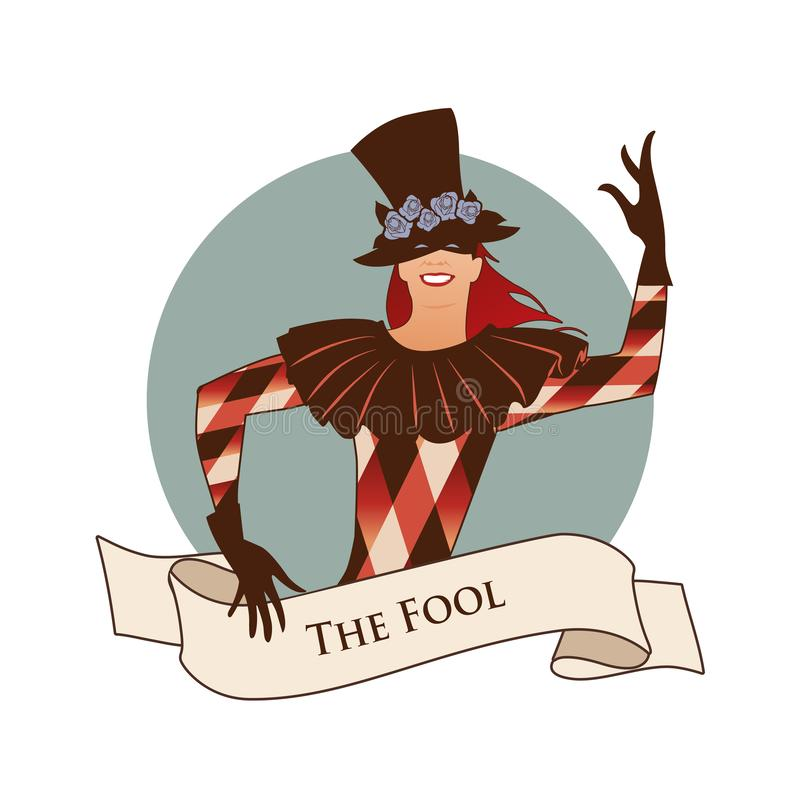 Major Arcana Emblem Tarot Card. The Fool. Joker with top hat decorated with flowers, mask and rhombus suit dancing, isolated on wh royalty free illustration