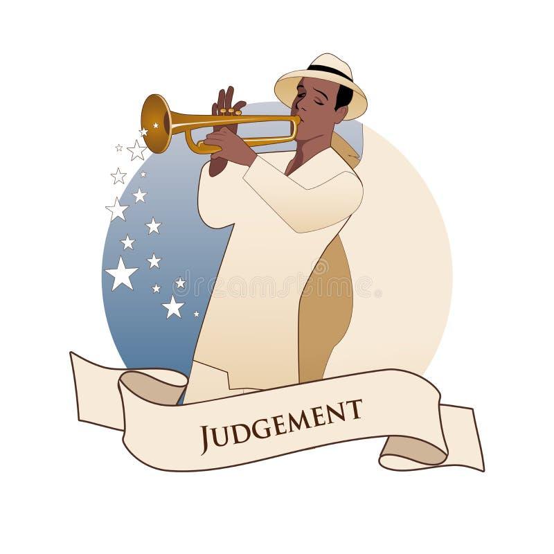 Major Arcana Emblem Tarot Card giudizio Arcangelo con le grandi ali, cappello d'uso che gioca la tromba, isolata sul backgrou bia royalty illustrazione gratis