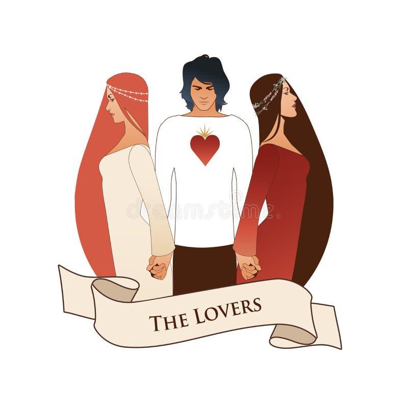 Major Arcana Emblem Tarot Card Gli amanti Giovane che tiene due belle donne dalla mano La maglietta con cuore sul petto, è illustrazione vettoriale