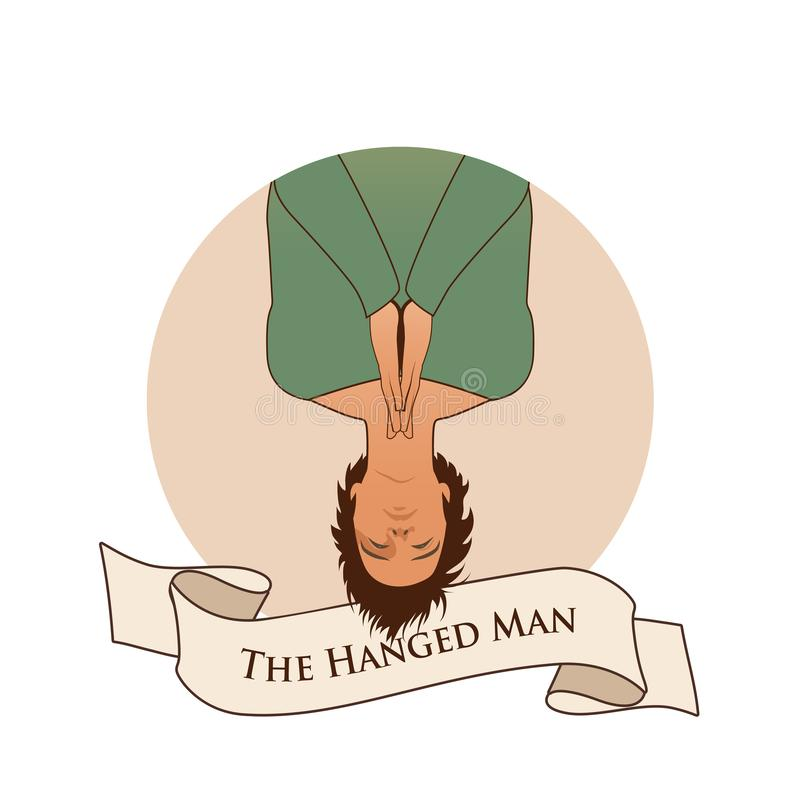 Major Arcana Emblem Tarot Card. The Hanged Man. Man hanging ace down,  with praying hands, isolated on white background royalty free illustration