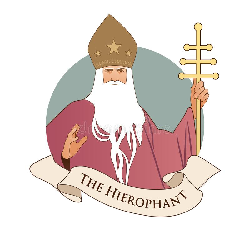 Major Arcana Emblem Tarot Card Hierophant Paus met witte baard en mijter met sterren, houdend een gouden bisschopsstaf, die verst stock illustratie