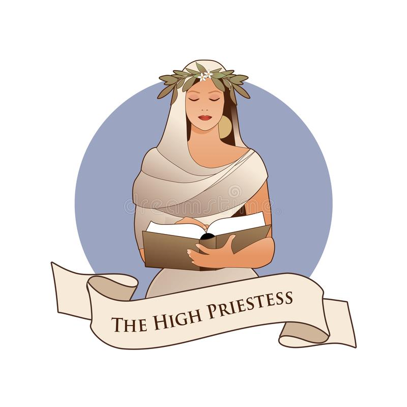 Major Arcana Emblem Tarot Card. The High Priestess with a laurel wreath reading a book isolated on white background vector illustration