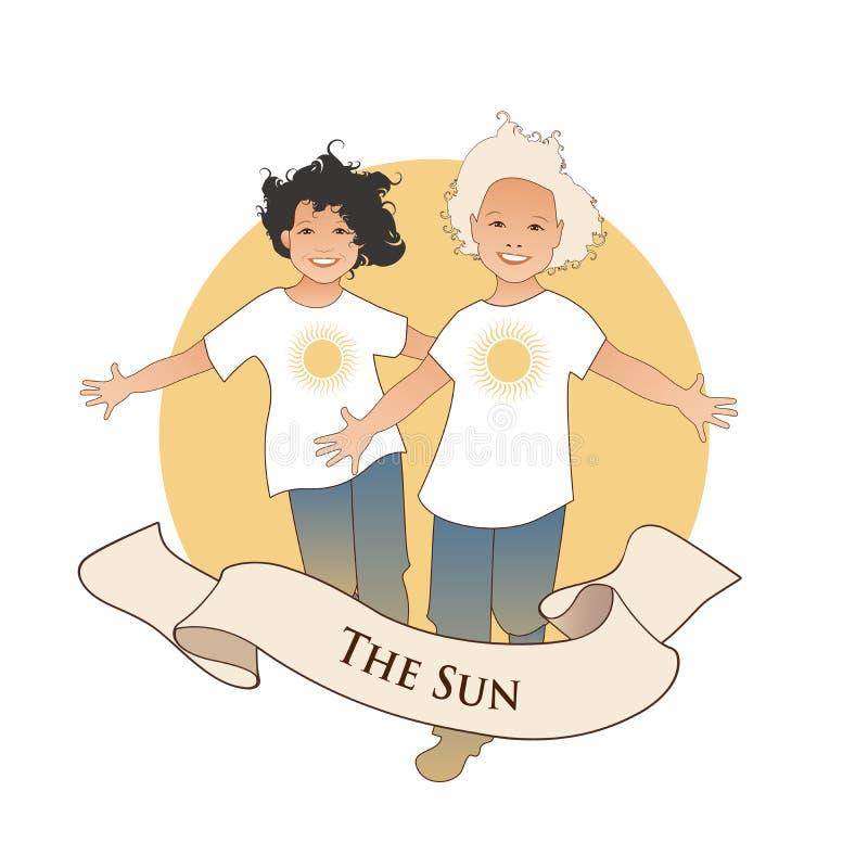 Major Arcana Emblem Tarot Card Il sole Due ragazzi gemellati felici che corrono con a braccia aperte davanti al sole, isolato sul royalty illustrazione gratis