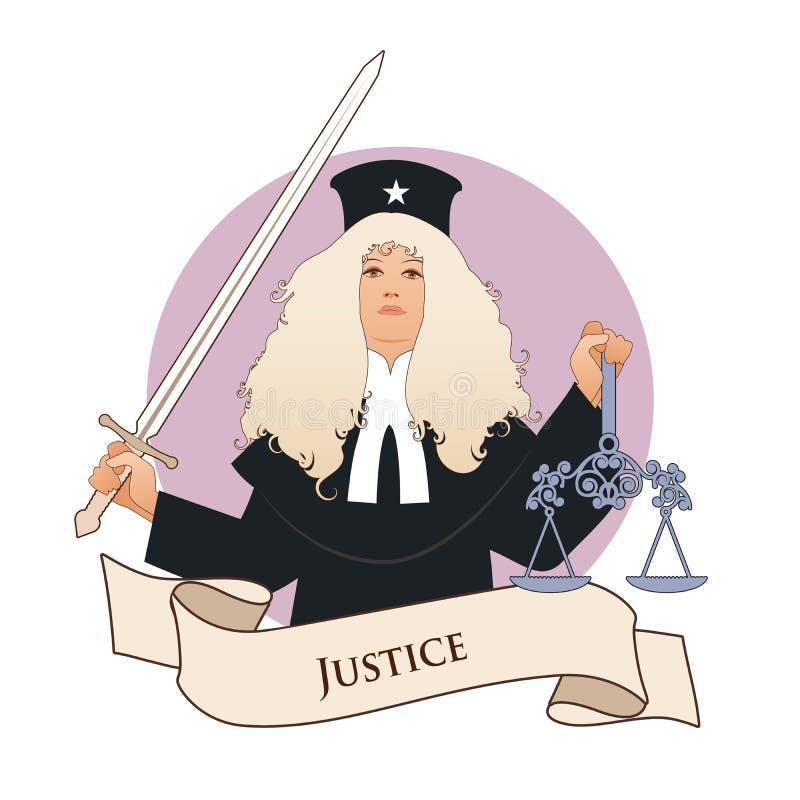 Major Arcana Emblem Tarot Card justicia Mujer vestida en una peluca y la ropa del juez, sosteniendo una espada en una mano y una  ilustración del vector