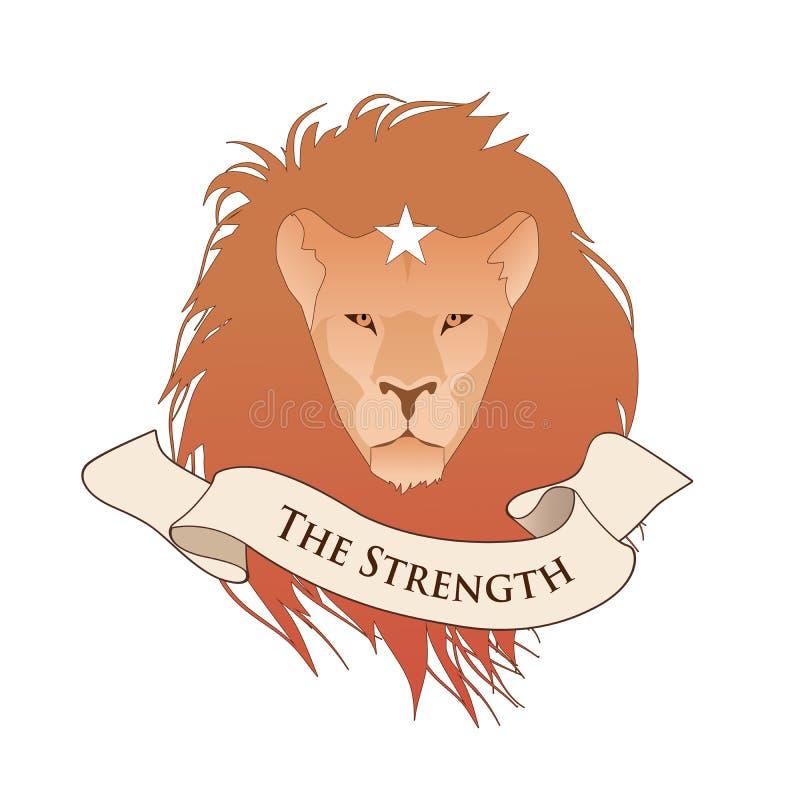 Major Arcana Emblem Tarot Card La fuerza Cabeza del león con la estrella, aislada en el fondo blanco stock de ilustración