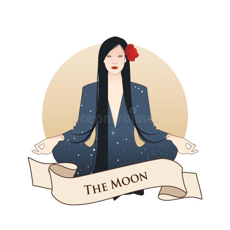 Major Arcana Emblem Tarot Card La luna? in una notte nuvolosa Bella ragazza che medita in posizione e luna piena di loto nei prec illustrazione di stock